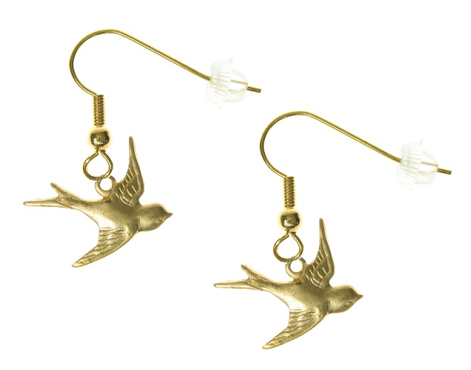 Maria Allen Swallow Bird Earrings - Gold Plate