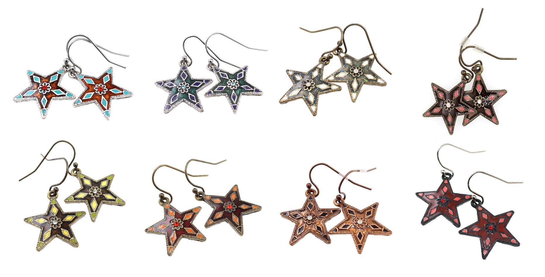 PILGRIM - STARS - Midi Sized Enamel & Crystal Star Earrings