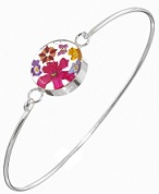 Mixed Flower Round Detail Bangle - Sterling 925 Silver