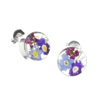 Mixed Flower Round Stud Earrings - Sterling 925 Silver