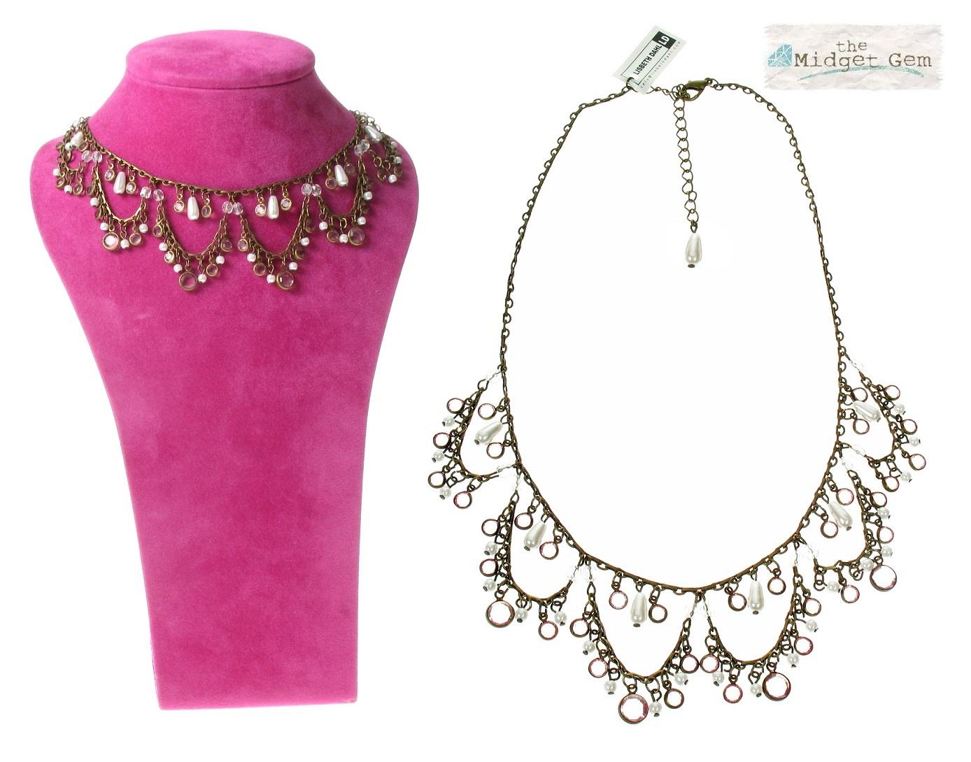Lisbeth Dahl - Pearl Drops Necklace - Vintage Gold/Pale Pink BNWT