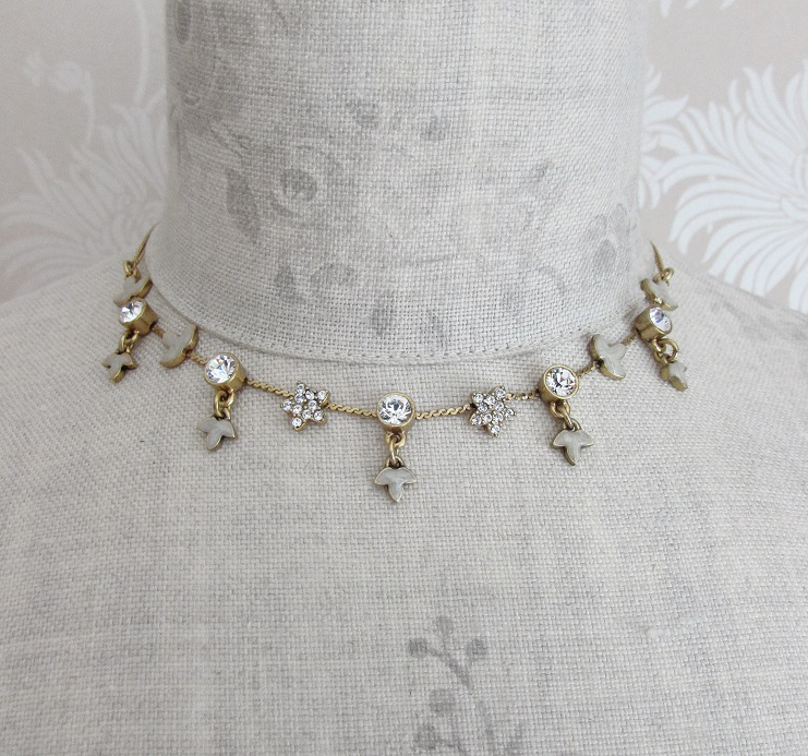 PILGRIM - Circle Line - Simple Star & Leaf Necklace - Gold/Clear BNWT