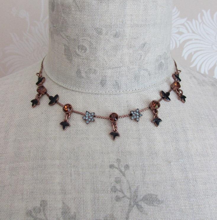 PILGRIM - Circle Line - Simple Star & Leaf Necklace - Copper/Blue BNWT