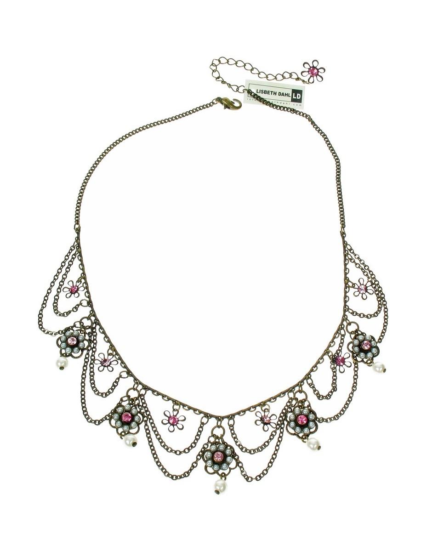 Lisbeth Dahl - Pearl Flowers Necklace - Vintage Gold/Pink BNWT