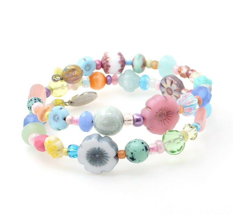 Pretty Pastel Glass Bead Mix Double Loop Wrap Bracelet