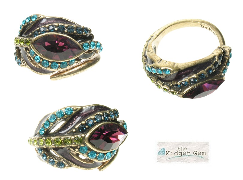 BOHM - Peacock Feather Wrap-Around Ring Adjustable - Burnished Gold Plate BNWT