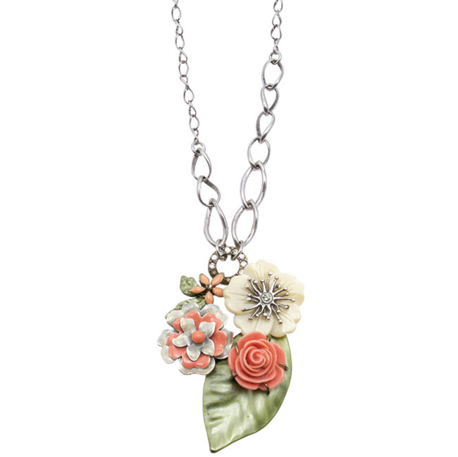 Bohm Floral Couture MOP Flower  Pendant Necklace