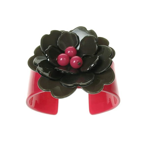 Peony Cerise Pink Cuff & Charcoal Grey Flower - BIG BABY Bangle