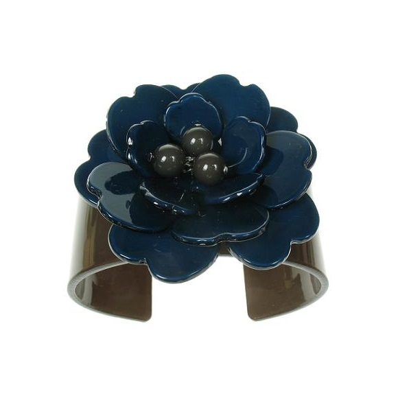 Peony Charcoal Grey Cuff & Ink Blue Flower - BIG BABY Bangle