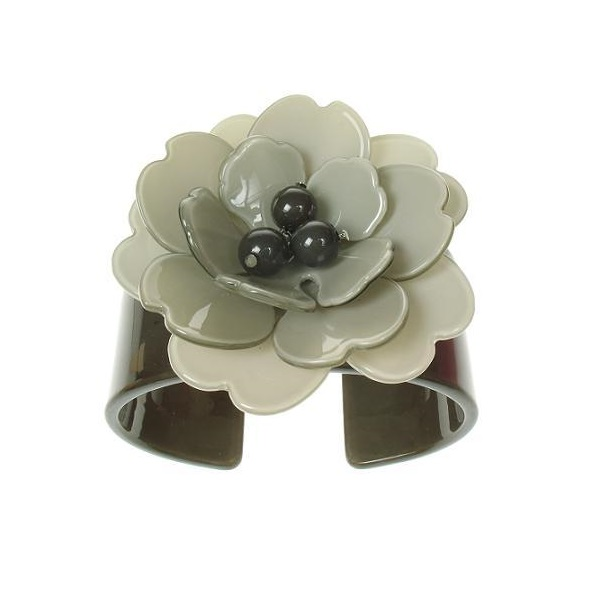 Peony Charcoal Grey Cuff & Pale Grey Flower - BIG BABY Bangle