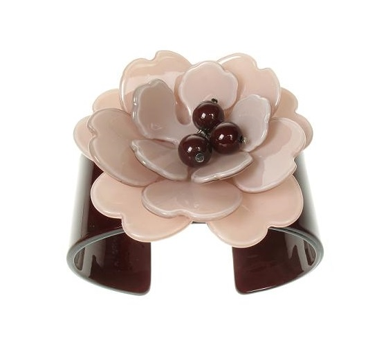 Peony Nude Pink Flower & Chocolate Cuff - BIG BABY Bangle