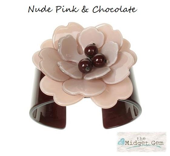 Peony Nude Pink Flower & Chocolate Cuff - BIG BABY Bangle