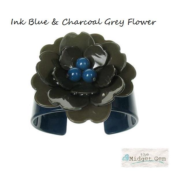 Peony Ink Blue Cuff & Charcoal Grey Flower - BIG BABY Bangle