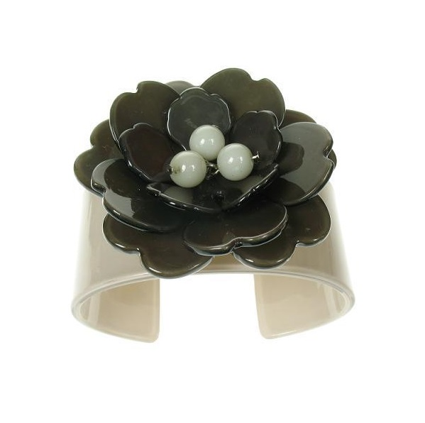 Peony Pale Grey Cuff & Charcoal Grey Flower - BIG BABY Bangle