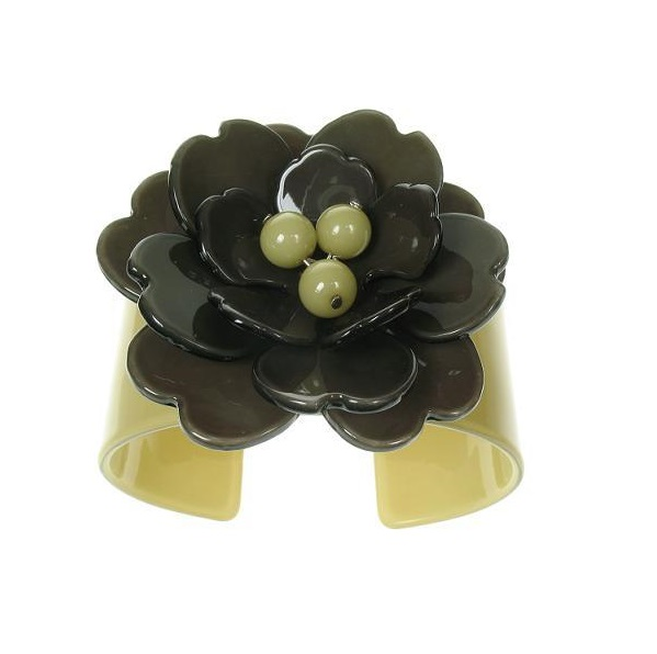 Peony Moss Green Cuff & Charcoal Grey Flower - BIG BABY Bangle