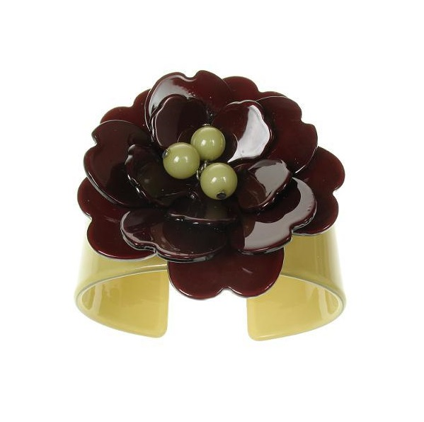 Peony Moss Green Cuff & Chocolate Flower - BIG BABY Bangle