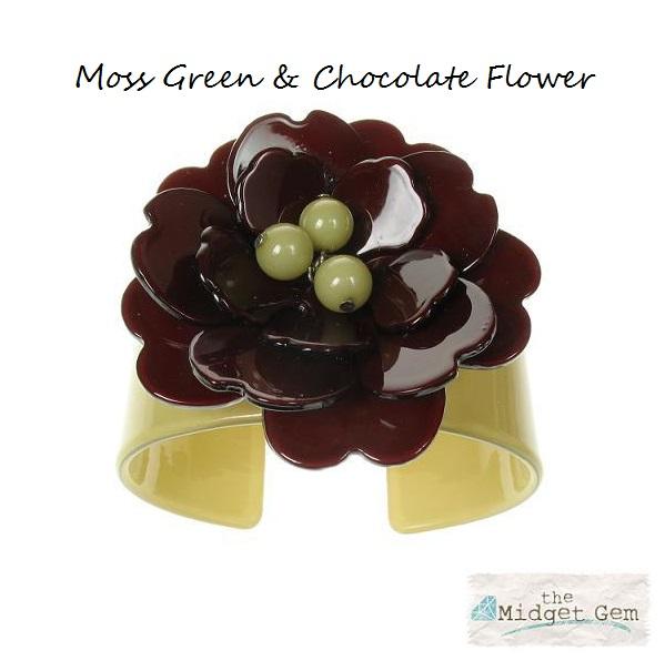 Peony Moss Green Cuff & Chocolate Flower - BIG BABY Bangle