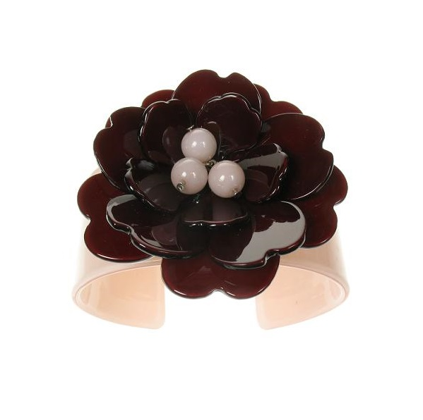 Peony Nude Pink Cuff & Chocolate Flower - BIG BABY Bangle