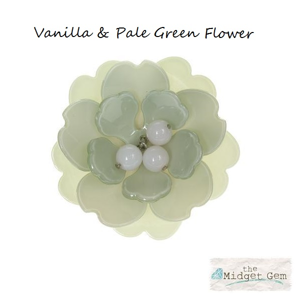 Peony Vanilla Cuff & Green Flower - BIG BABY Bangle