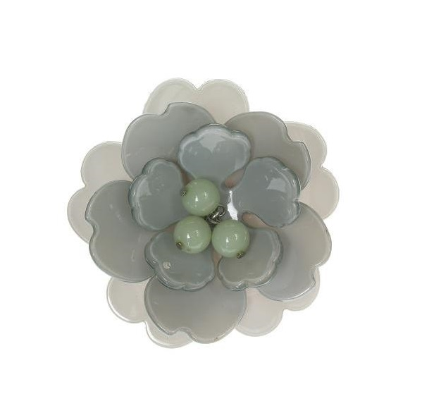 Peony Pale Green Cuff & Grey Flower - BIG BABY Bangle