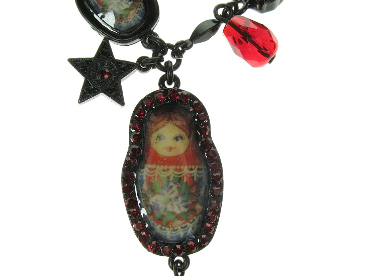 PILGRIM Two Russian Dolls Necklace - Black Plate/Red