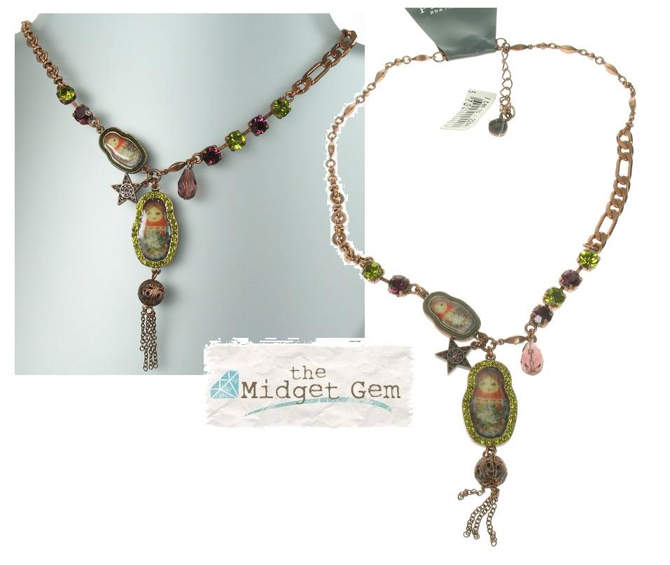 PILGRIM - Two Russian Dolls Necklace - Oxidised Copper/Purple & Green BNWT