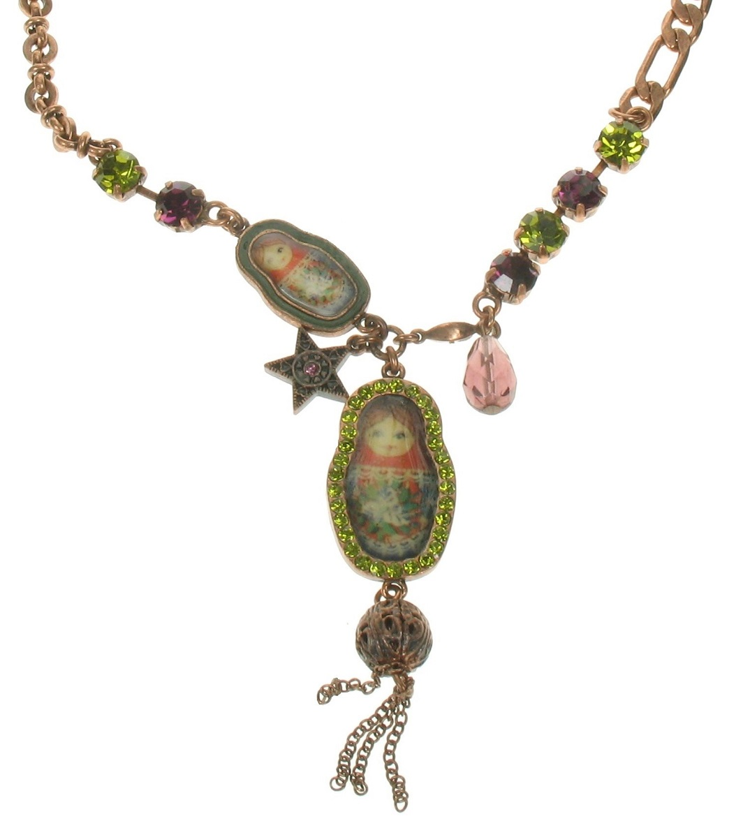 PILGRIM Two Russian Dolls Necklace - Oxidised Copper/Purple & Green
