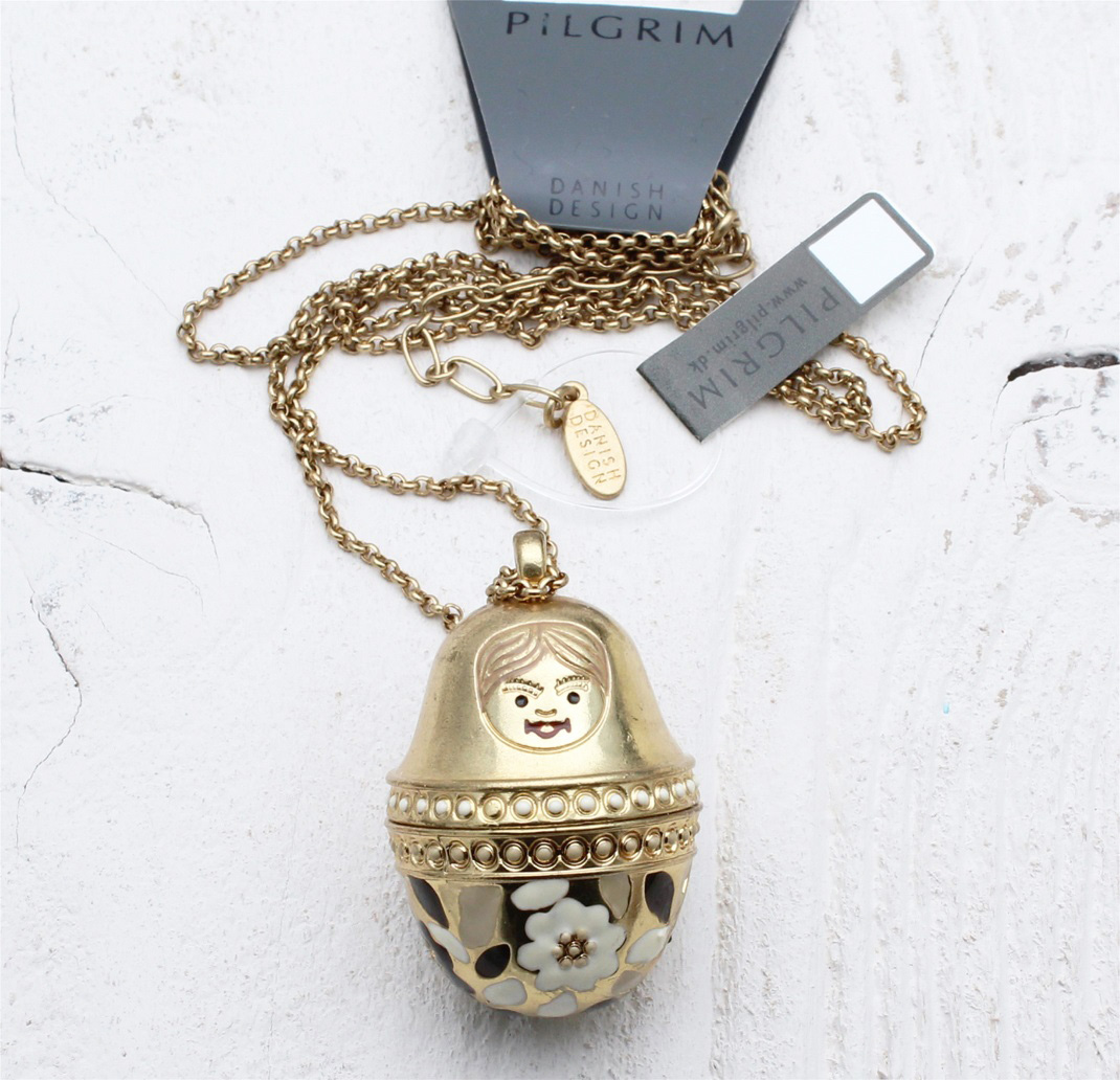 PILGRIM Necklace Opening Matryoshka Russian Doll Gold Cream Enamel BNWT - Large