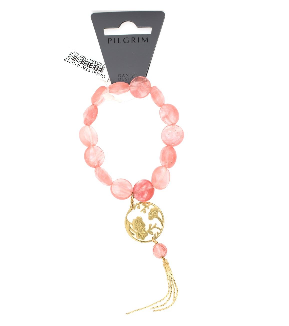 PILGRIM Oriental Bracelet Cherry Quartz & Silken Gold Plate BNWT