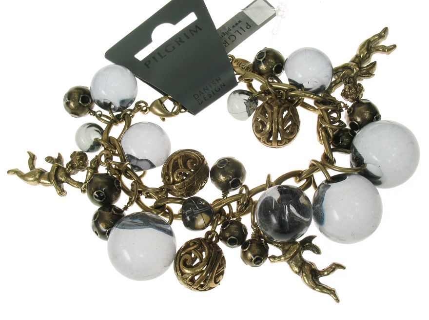 Pilgrim Cherub Charm Bracelet - Grey & Antique Gold