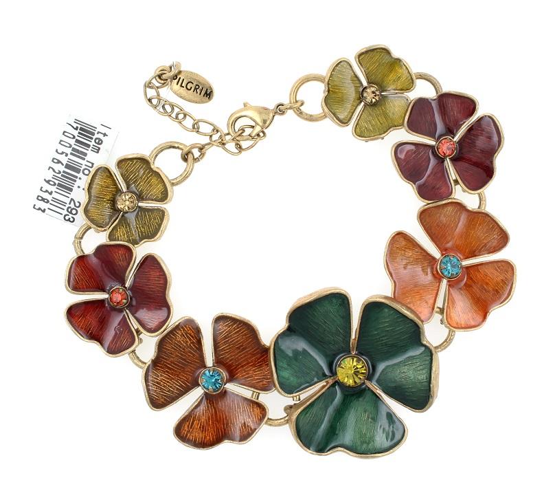 PILGRIM - Clover Flower Bracelet - Gold/Multi-Colour BNWT