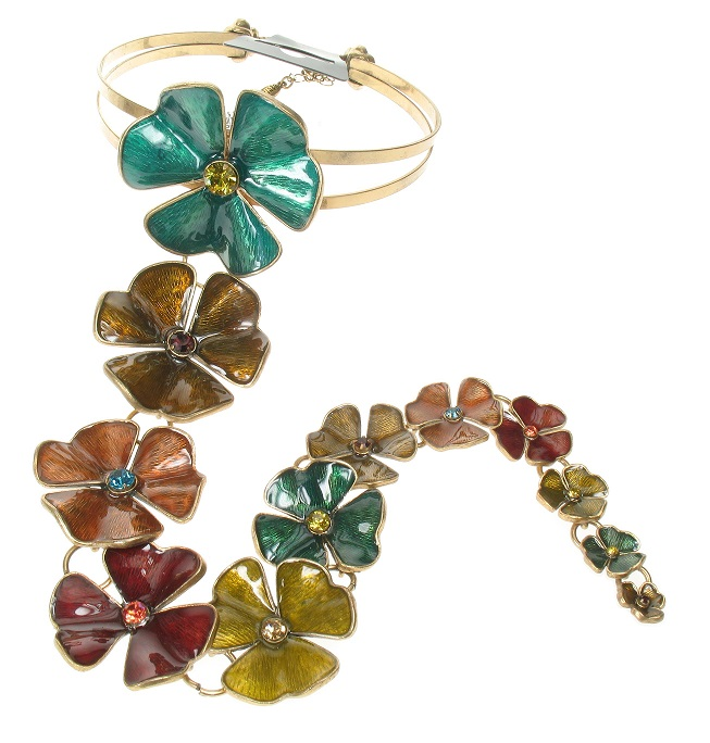 PILGRIM - Clover Flower Choker Statement Necklace - Gold/Multi-Colour BNWT