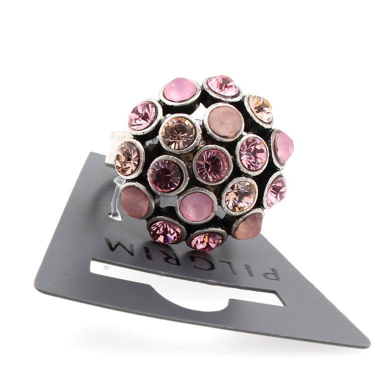 PILGRIM - Crystal Globes - Cushion Ring - Oxidised Silver Plate/Pink BNWT