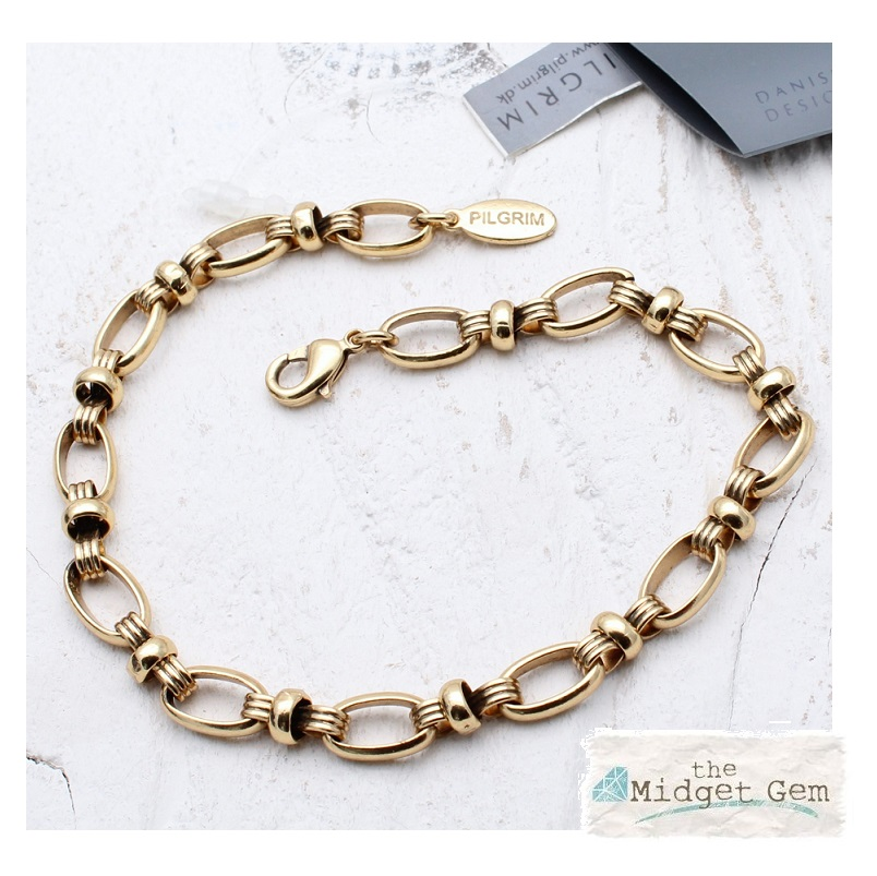 PILGRIM - Fancy Link Bracelet - Oxidised Gold Plate