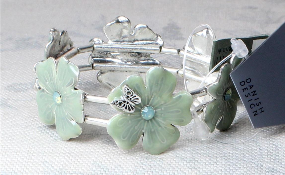 PILGRIM - Flowerbirds - Stretch Bracelet - Milky Opal Green/Oxidised Silver BNWT