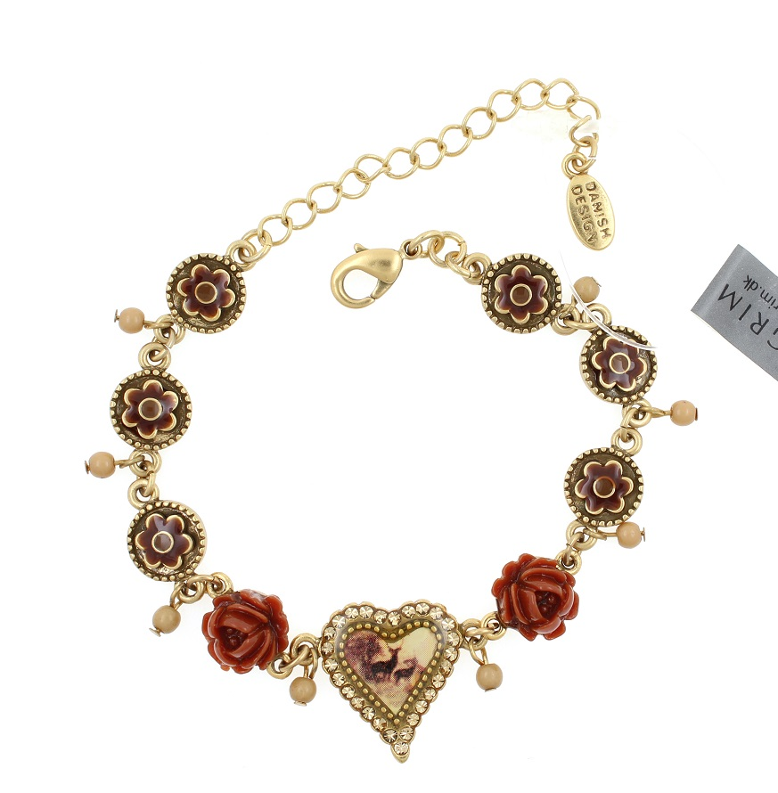 PILGRIM - Kitsch Devotion - Deer Heart Bracelet - Burnt Sienna/Gold BNWT