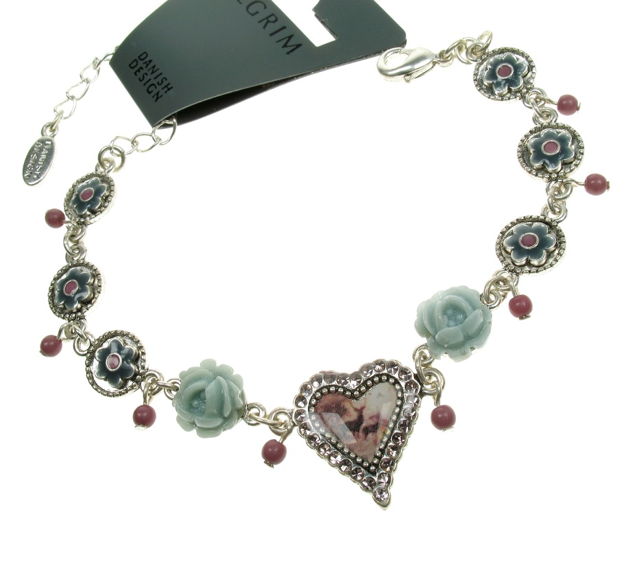 PILGRIM - Kitsch Devotion - Deer Heart Bracelet - Green/Silver BNWT