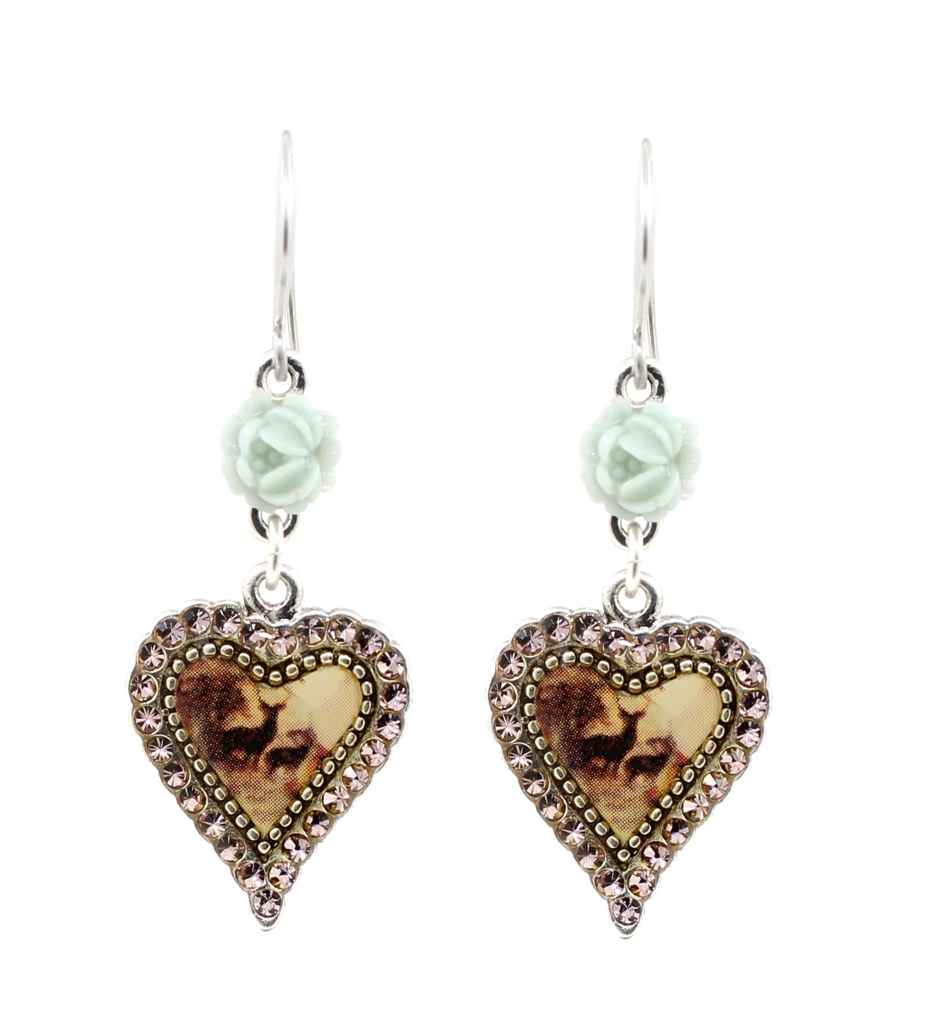 PILGRIM - Kitsch Devotion - Deer Heart Earrings - Silver/Green BNWT