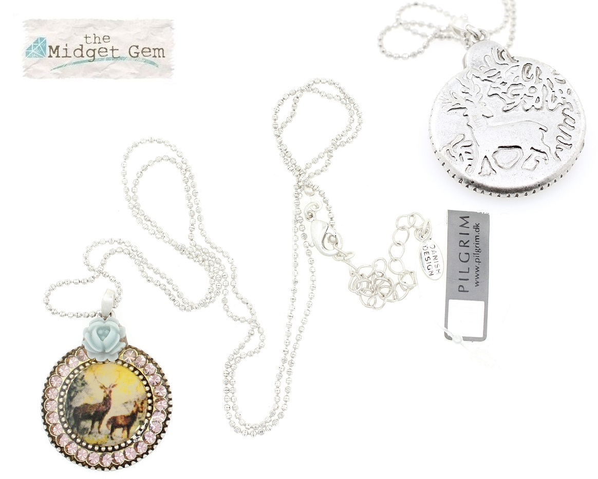 PILGRIM - Kitsch Devotion - Circular Pendant Long Necklace - Green/Silver BNWT