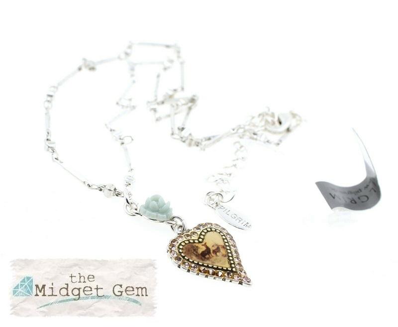 PILGRIM - Kitsch Devotion - Deer Heart Necklace - Silver/Green BNWT