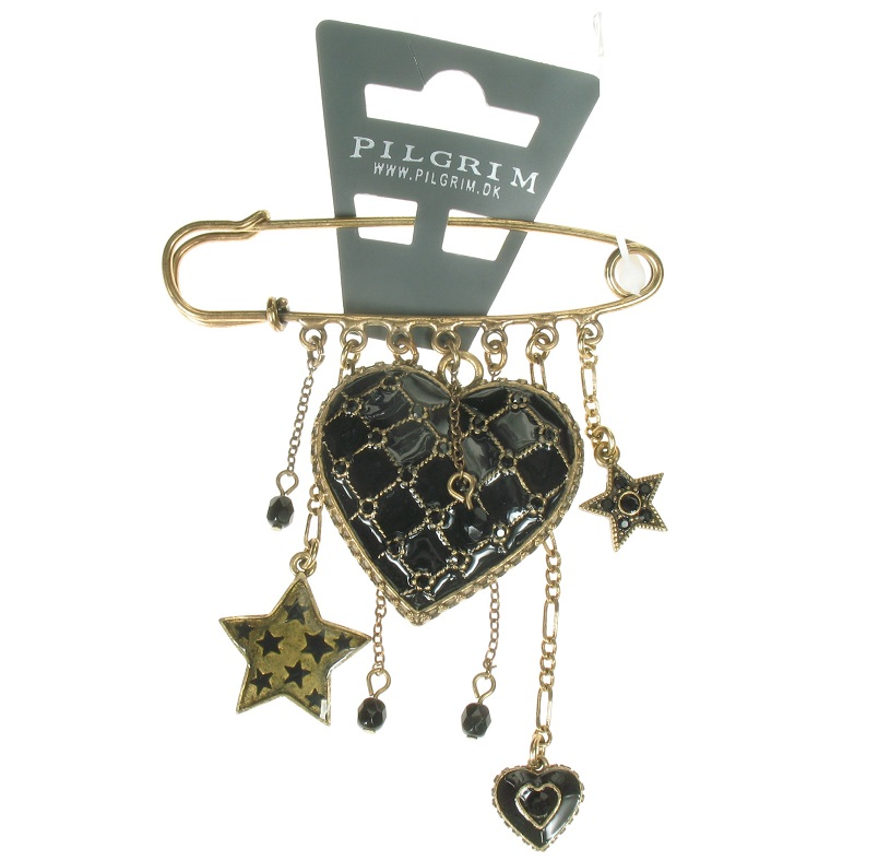PILGRIM - Quilted Heart - Kilt-Pin Brooch Black/Gold BNWT