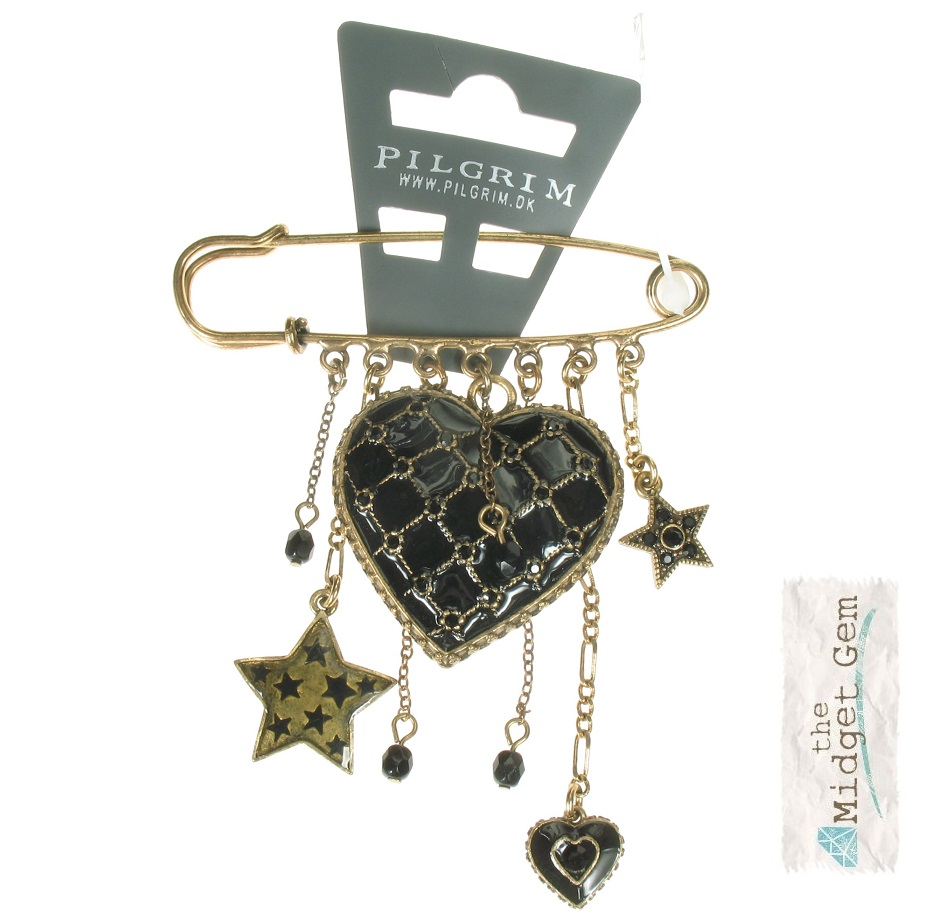 PILGRIM - Quilted Heart - Kilt-Pin Brooch Black/Gold BNWT