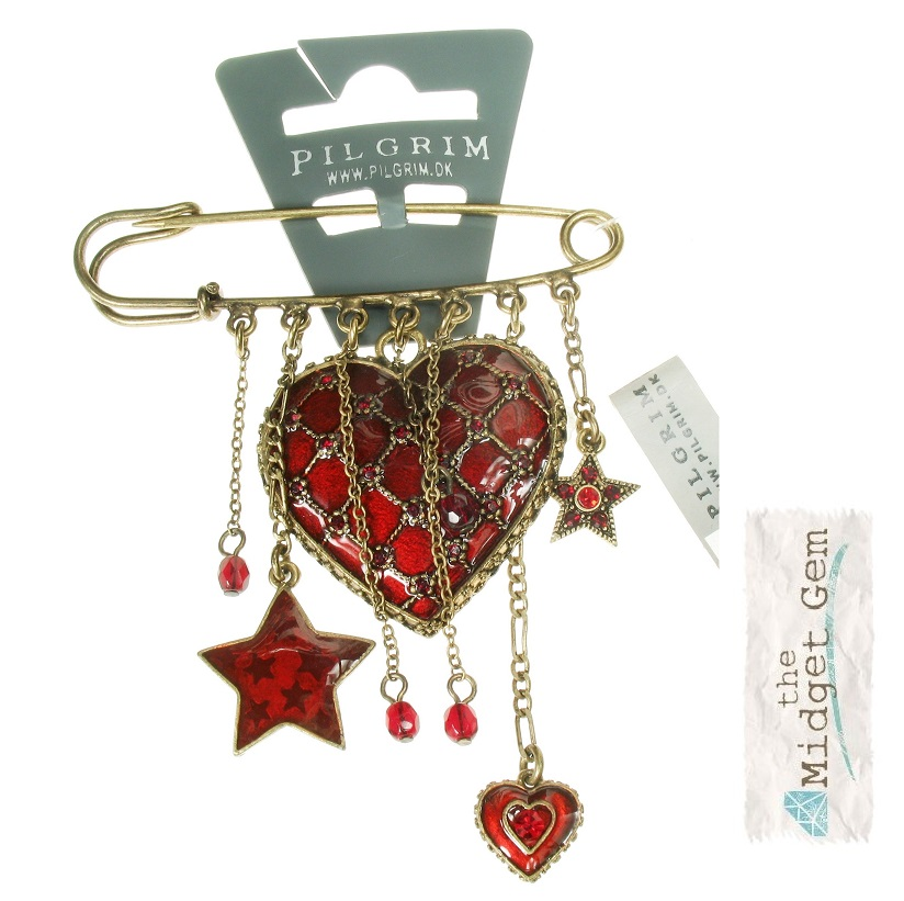 PILGRIM - Quilted Heart - Kilt-Pin Brooch Red/Gold BNWT