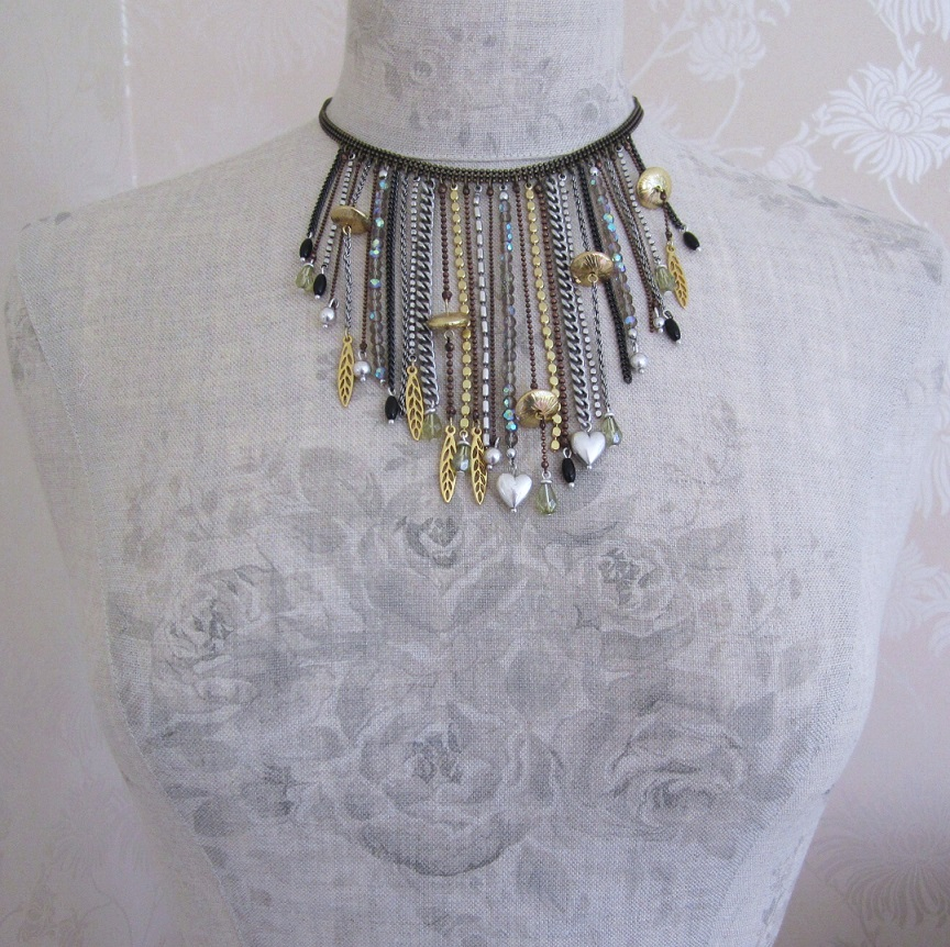 PILGRIM - River Poetry - Fringe Necklace - Mixed Copper Silver & Gold BNWT