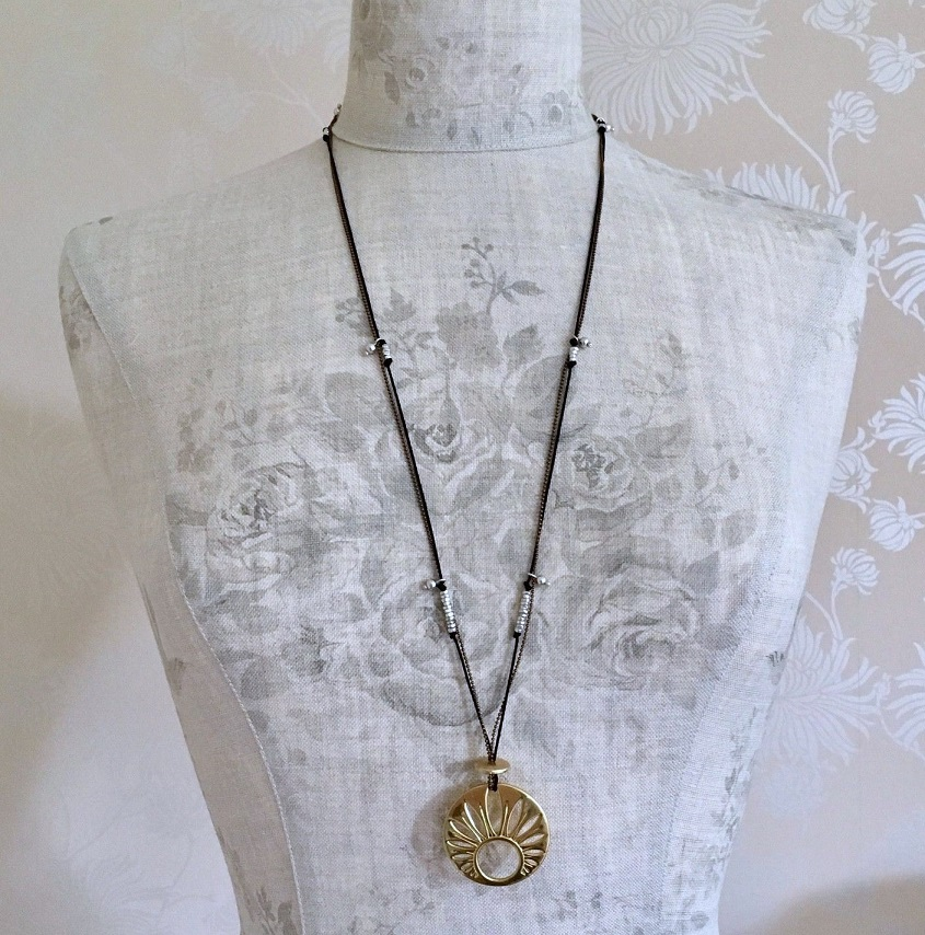 PILGRIM - River Poetry - Long Disc Necklace - Mixed Copper Silver & Gold BNWT