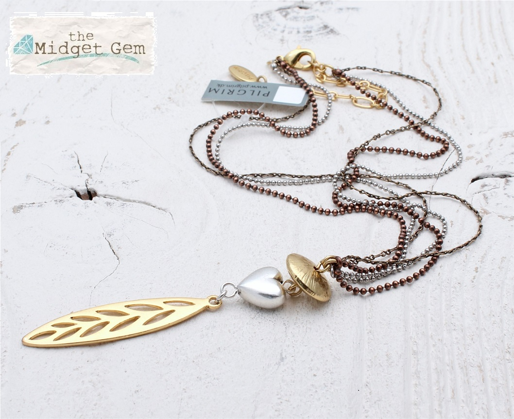 PILGRIM - River Poetry - Heart Pendant Necklace - Mixed Copper Silver & Gold BNWT