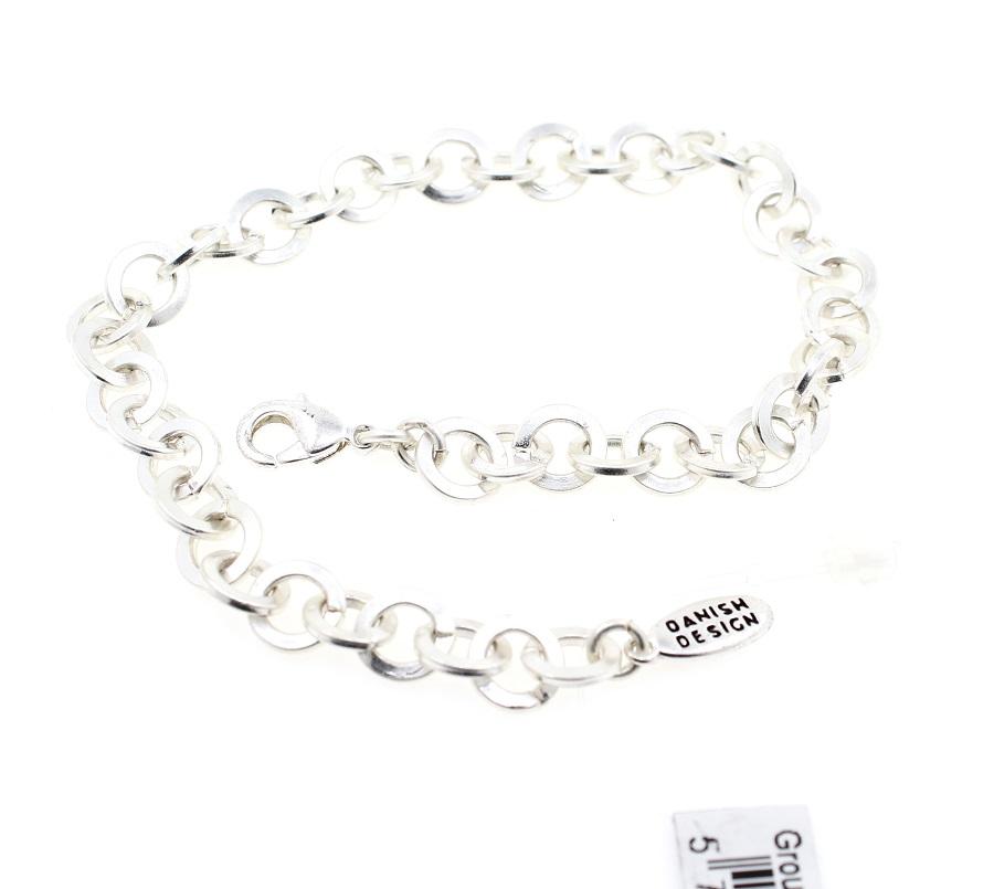 PILGRIM - Round Link Bracelet - Satin Silver Plate