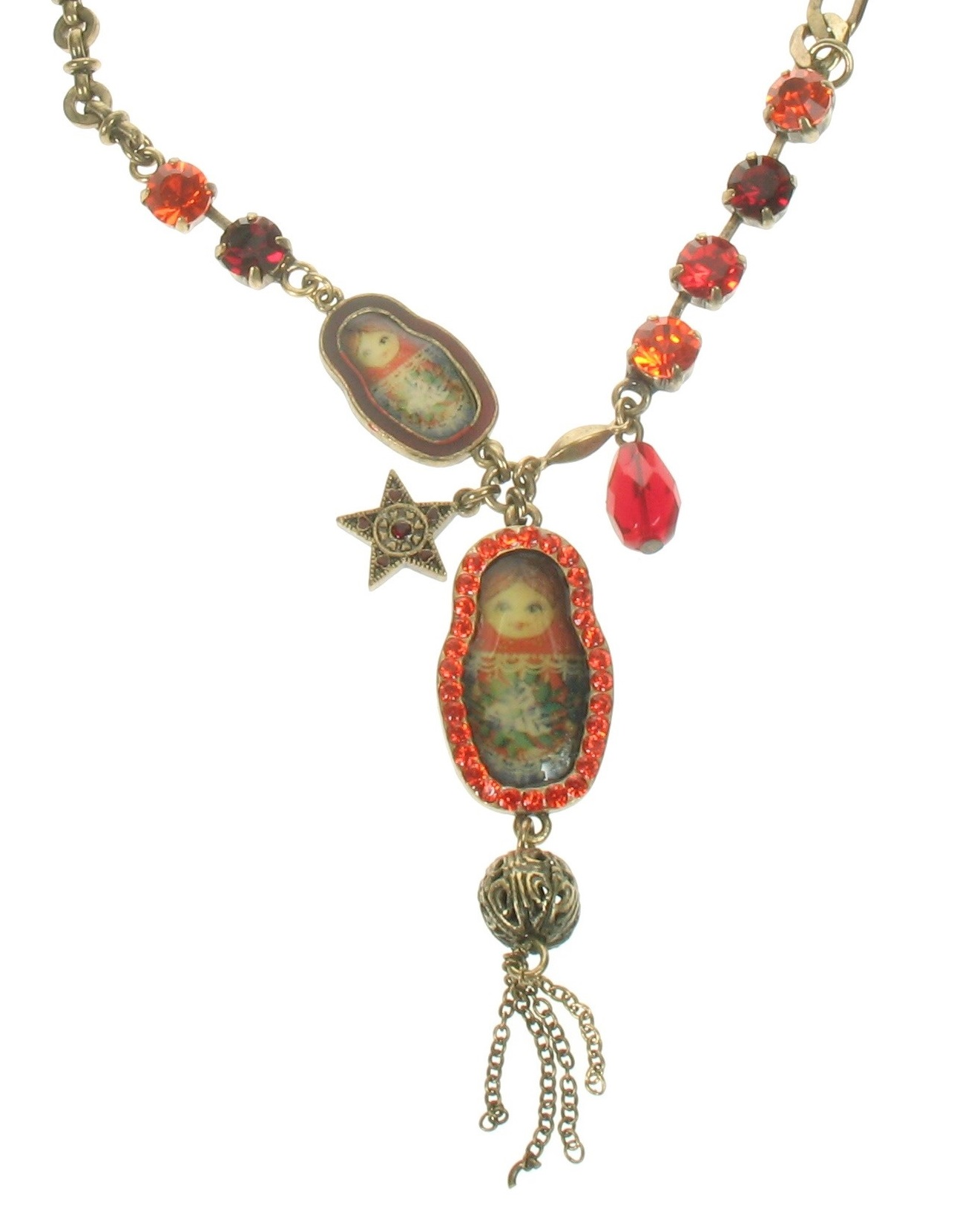 PILGRIM Two Russian Dolls Necklace - Oxidised Gold/Red