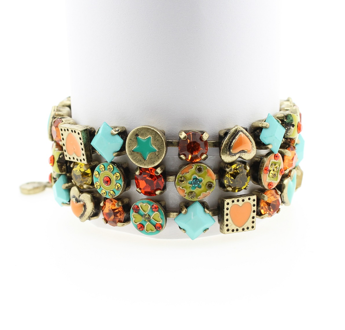Pilgrim Bracelet VICTORIAN PROMISES - Oxidised Gold Plate, Turquoise Yellow Coral Orange