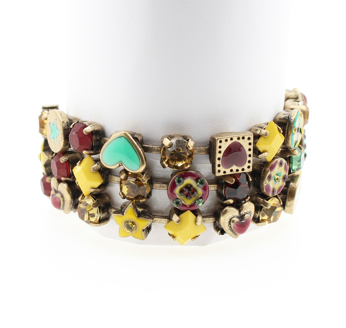 Pilgrim Bracelet - VICTORIAN PROMISES - Oxidised Gold Plate, Turquoise, Yellow & Raspberry BNWT